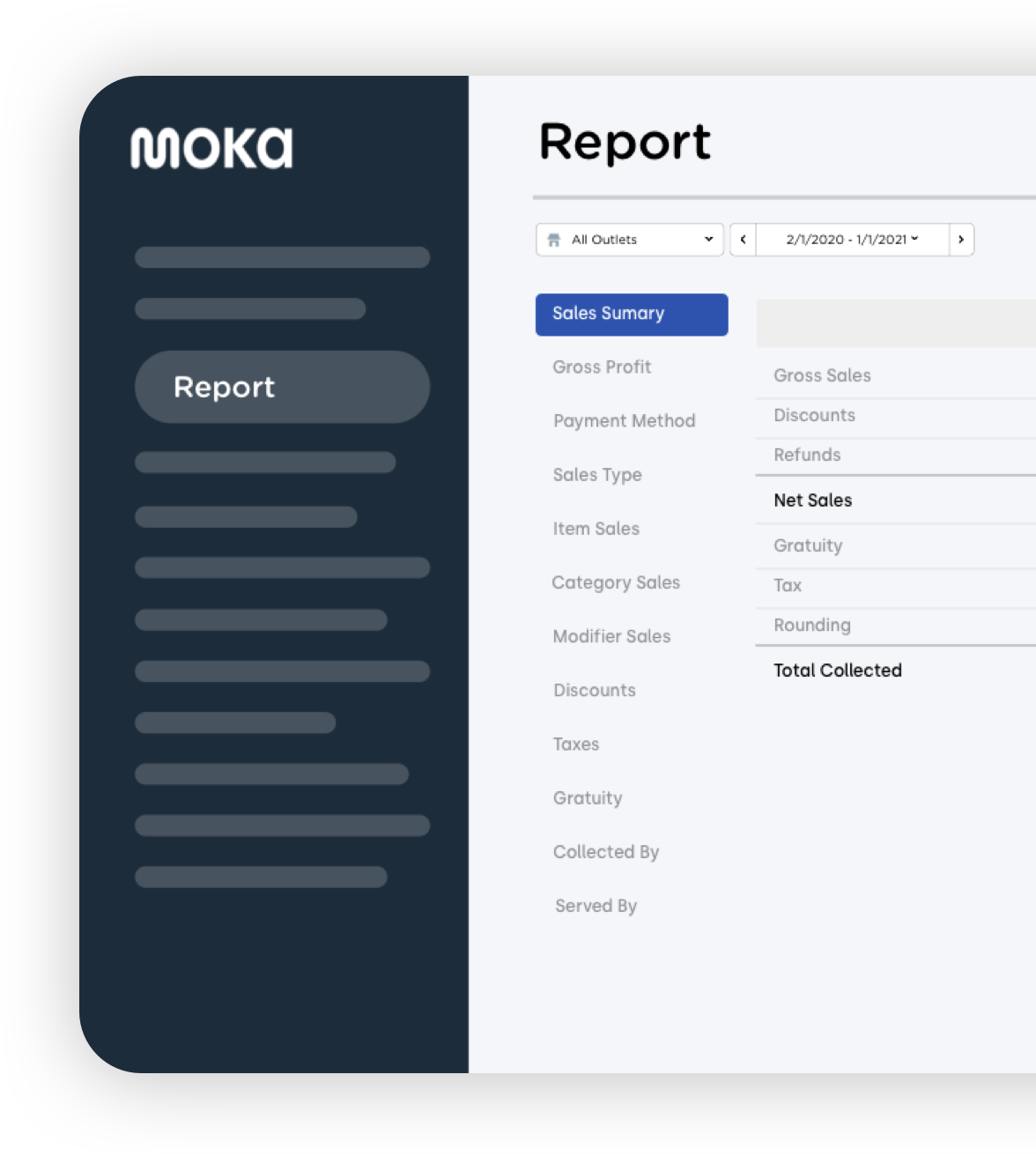 Aplikasi point of sale Moka sebagai solusi administratif untuk laporan penjualan harian, stok barang, dan perhitungan pajak