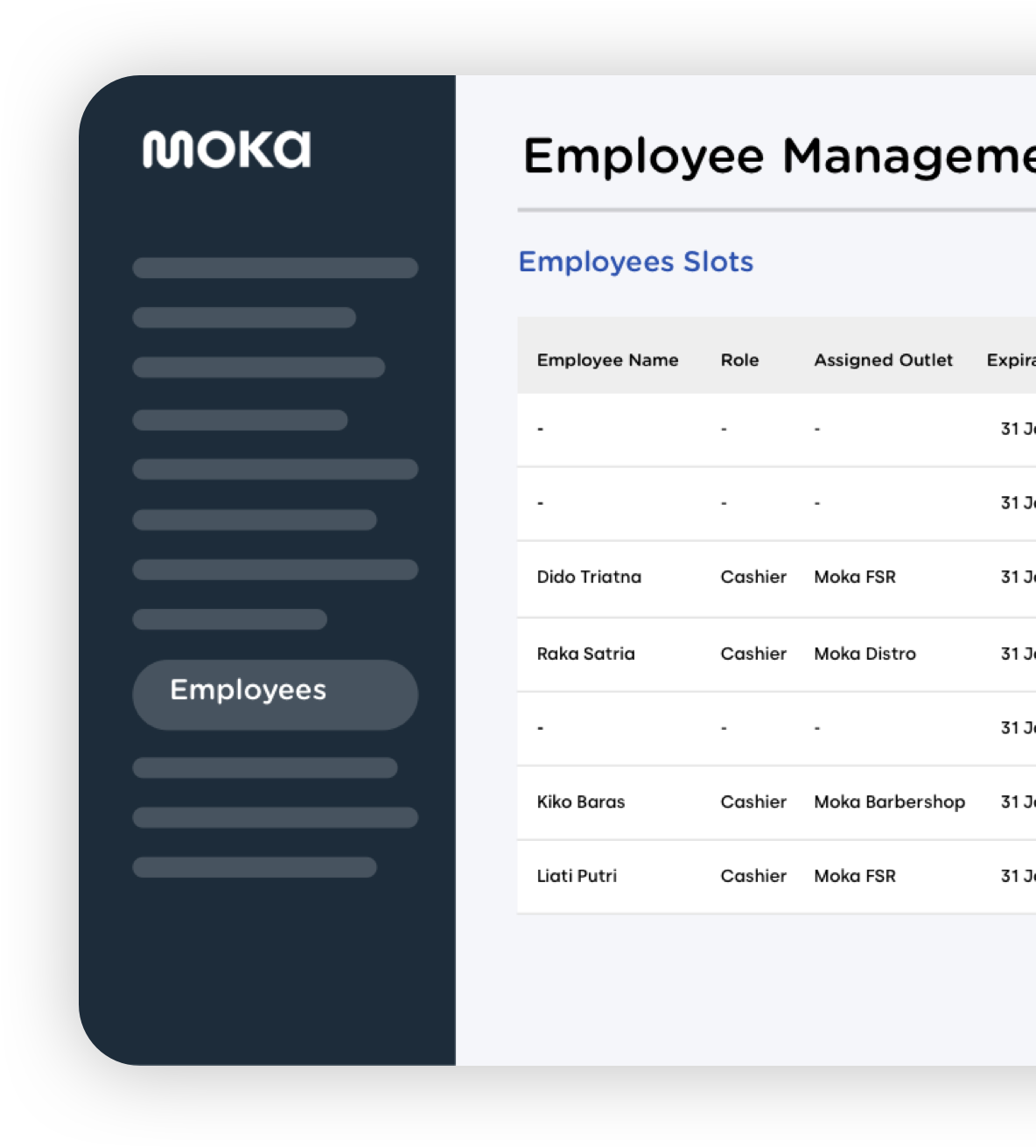 Moka's point of sale application secures and manages employee data, as well as to monitor the work shift of employees on duty